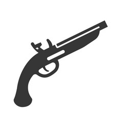 duelling pistol bold black silhouette icon vector image