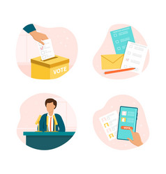 election set with voting and campaigning vector image