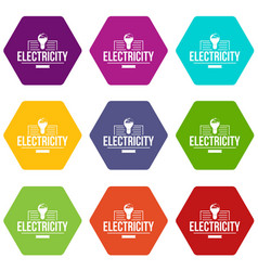 electricity icons set 9 vector image