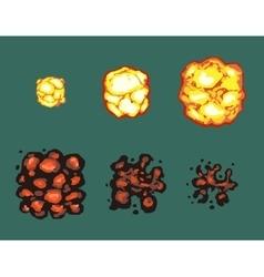 Explosion burst animation frames vector