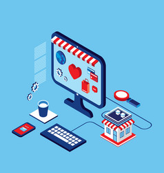 flat 3d isometric design shopping online vector image
