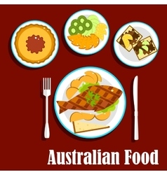 Fresh australian cuisine dishes flat style vector