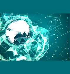 Global network connection technology background vector