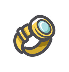 Gold glossy watch icon cartoon vector