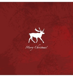 Grunge red reindeer background vector