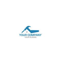 hammer saw construction logo design vector image