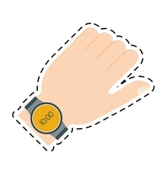 Hand with smart watch trendy wearable line vector