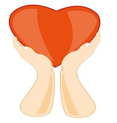 Hands keeps heart vector