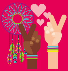hands peace and love dream catcher vector image