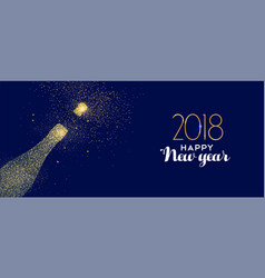 Happy new year 2018 gold glitter champagne bottle vector