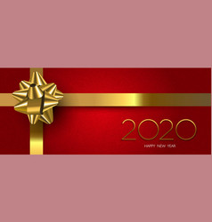 happy new year 2020 red holiday gift banner vector image