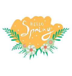 Hello spring hand sketched logotype badge icon vector