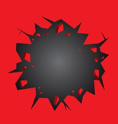 Hole cracked in the red wall vector