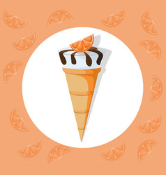 icecream cone delicious icon flat style vector image