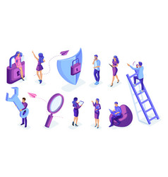isometric set people in motion work write vector image