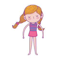 ittle girl with striped shirt and pony tails hair vector image