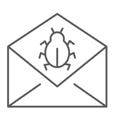 Mail virus attack thin line icon message vector