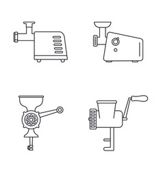 Meat grinder tool icon set outline style vector