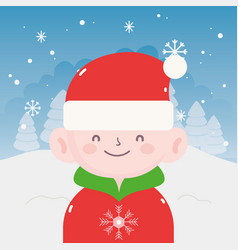 merry christmas little boy with sweater hat of vector image