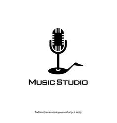 music record studio logo microphone and note icon vector image