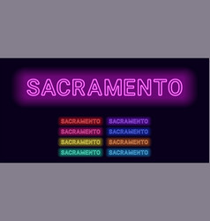 Neon name of sacramento city vector
