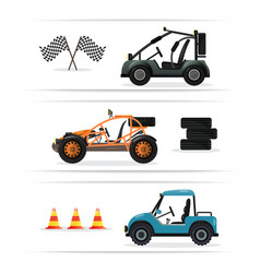 Off road buggy car isolated set vector