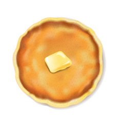 Pancake isolated with butter white background vector