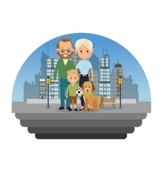 Parents and son icon family design city vector