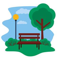 Park bench tree lamp post grass vector