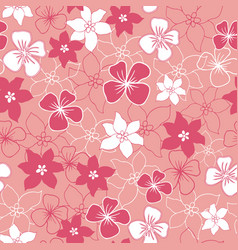 pink and white flower mix seamless pattern vector image
