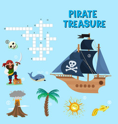 Pirate puzzle treasure adventure crossword vector