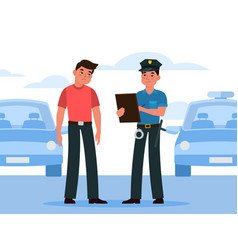 policeman write fine police officer in uniform vector image