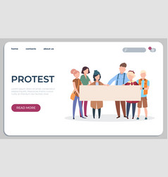 protest people landing page protesters or vector image