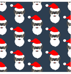 pug in santa claus costume seamless pattern vector image