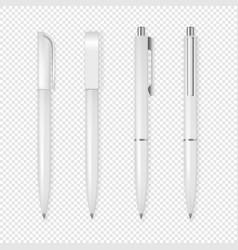 realistic white pen icon set corporate vector image