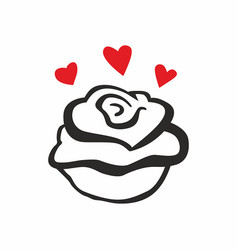 rose with hearts vector image