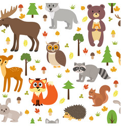 Seamless pattern with cute forest animals vector