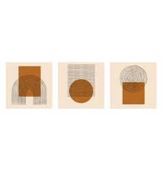 set abstract boho minimal geometric design vector image