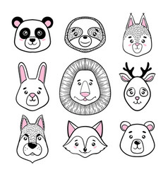 set of cute animal faces black white panda vector image