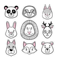 Set of cute animal faces black white panda vector