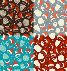 Set of seamless pattern of Santa hats beards and vector
