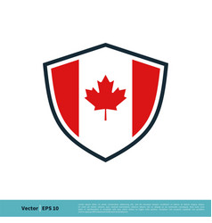 shield canadian flag red maple leaf icon logo vector image