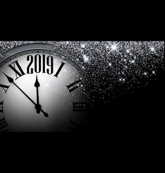 silver shiny 2019 new year background with clock vector image
