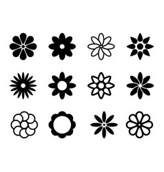 simple flowers shapes vector image