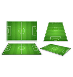 Soccer european football field in different point vector