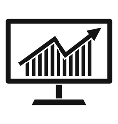 Statistics on monitor icon simple style vector image