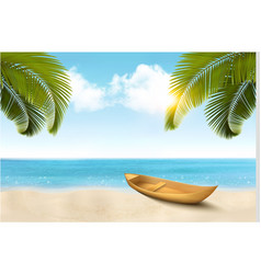 summer vacation background with tropical beach a vector image