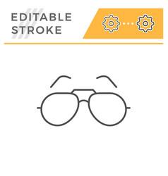 sunglasses editable stroke line icon vector image