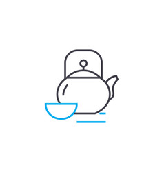tea ware linear icon concept tea ware line vector image