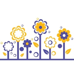 two colors abstract flowers on white background vector image